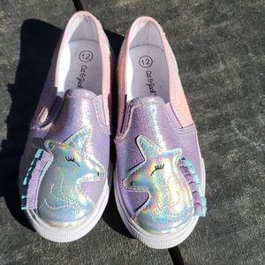 Girls unicorn slip on shoes